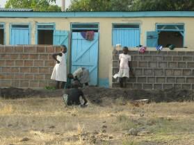 Outside the latrines